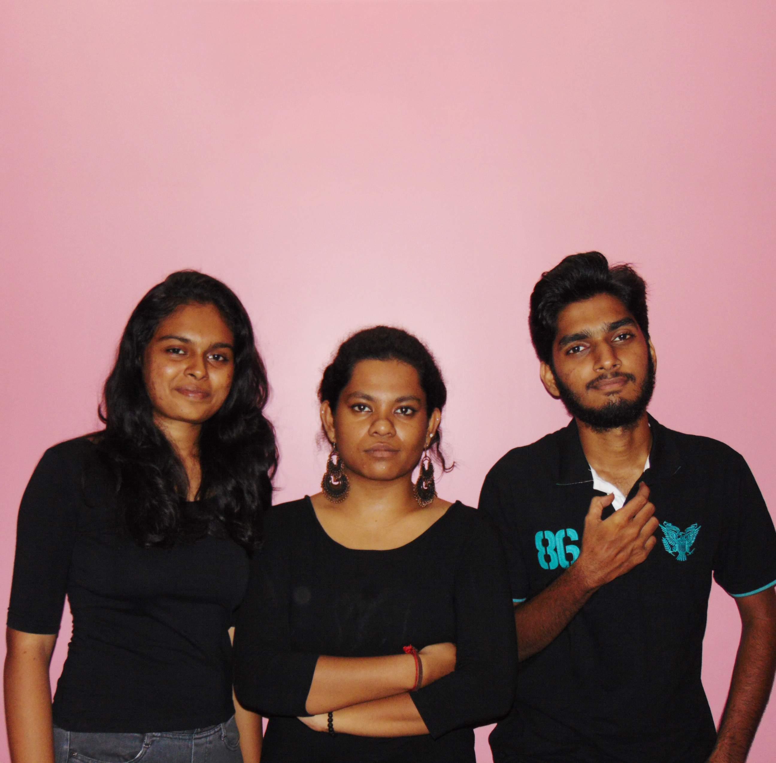 The cast of Sisters: Anusha Prabhu, Pavithra Baskaran and Gophalan Murali