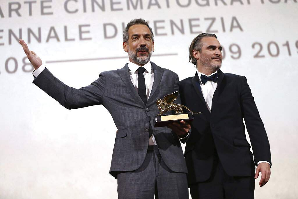Todd Phillips and Joaquin Phoenix at Venice (Photo by Joel C Ryan/Invision/AP)