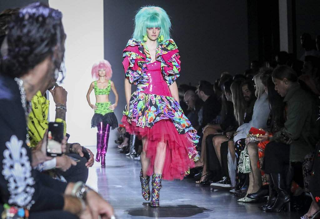 The latest fashion creation from Jeremy Scott is modeled during New York's Fashion Week, Friday, Sept. 6, 2019. (AP Photo/Bebeto Matthews)