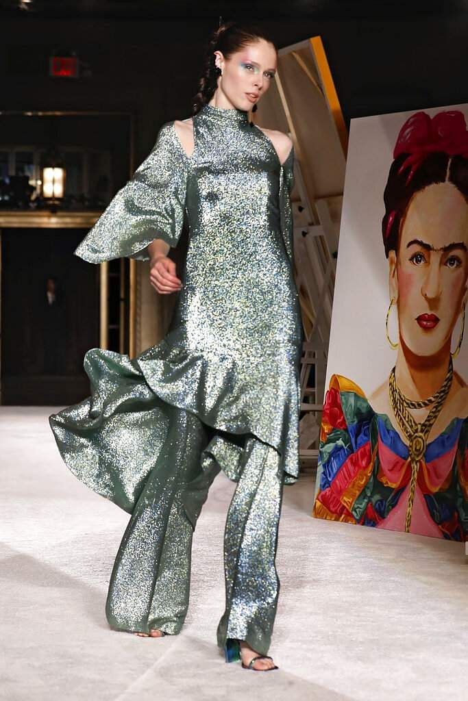 The Christian Siriano collection is modeled during Fashion Week, Saturday, Sept. 7, 2019, in New York, Saturday, Sept. 7, 2019. (AP Photo/Richard Drew)