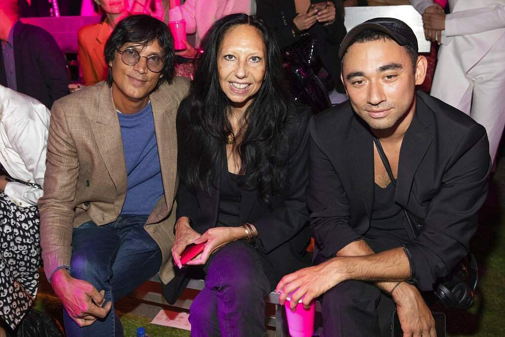 Vinoodh Matadin, Inez van Lamsweerde and Nicola Formichetti attend the Brandon Maxwell show at NYFW Spring/Summer 2020, in the Brooklyn borough of New York. (Photo by Brent N. Clarke/Invision/AP)