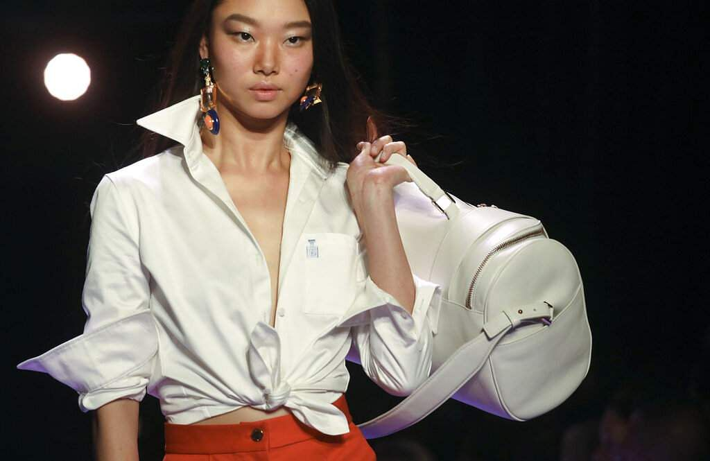 The latest fashion creation from Brandon Maxwell is modeled during New York Fashion Week, Saturday Sept. 7, 2019, in the Brooklyn borough of New York. (AP Photo/Bebeto Matthews)