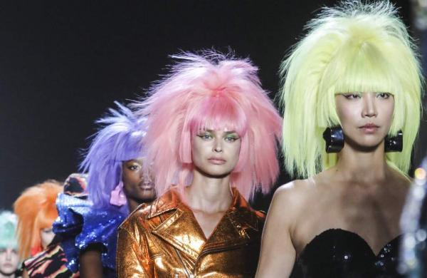 The latest fashion creation from Jeremy Scott is modeled during New York's Fashion Week, Friday, Sept. 6, 2019. (AP Photo/Bebeto Matthews)