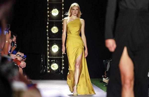 The latest fashion creation from Brandon Maxwell is modeled during New York Fashion Week, Saturday, Sept. 7, 2019, in the Brooklyn borough of New York. (AP Photo/Bebeto Matthews)