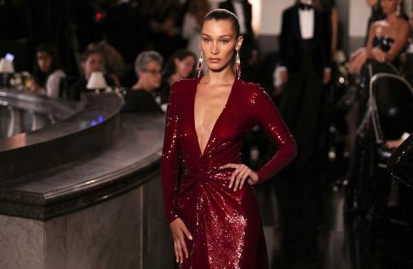 Bella Hadid models the Ralph Lauren collection during Fashion Week in New York, Saturday, Sept 7, 2019. (AP Photo/Jeenah Moon)