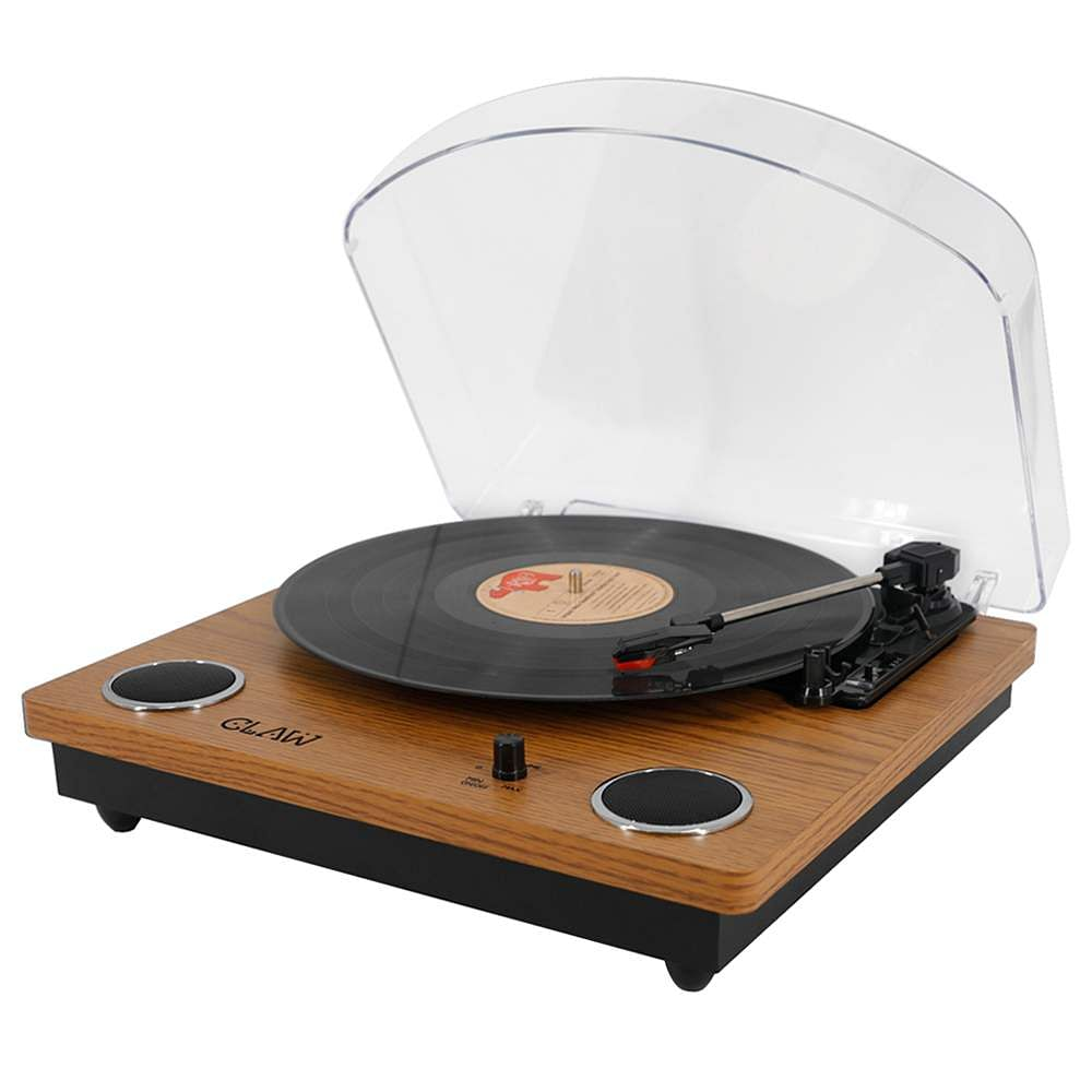 "Claw Stag Superb Plus: Claw's Turntable comes with built-in speakers in a vintage design. Supports 33, 45 & 78 RPM speeds and 7"", 10"" & 12"" vinyl records. Can also digitise records to mp3. INR 8990."