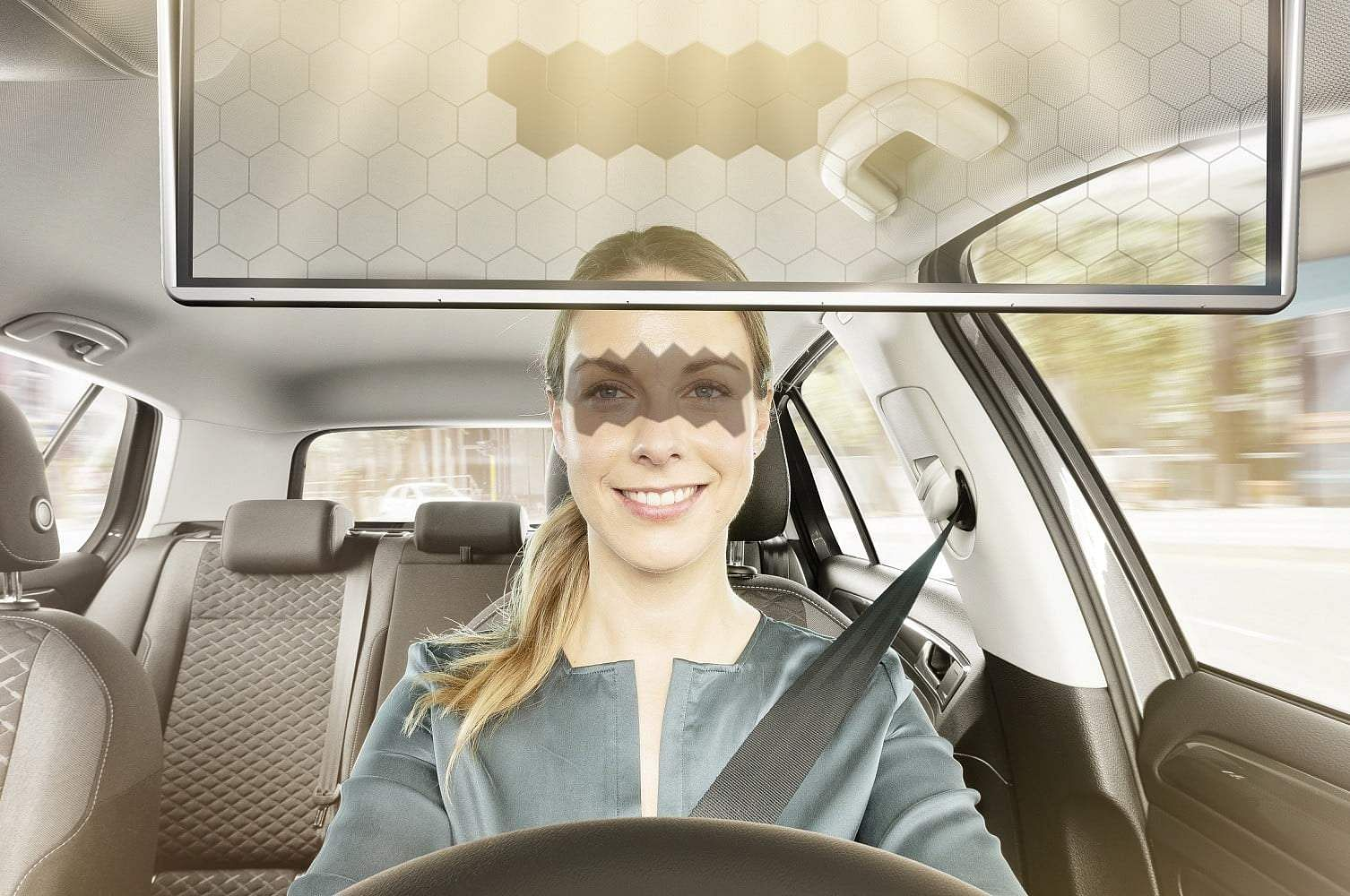 Bosch Virtual Visor: A Virtual sun visor that uses AI to block glare and sunlight. Using a camera and algorithms, the visor darkens sections in which sunlight hits the driver's eyes. Details online.