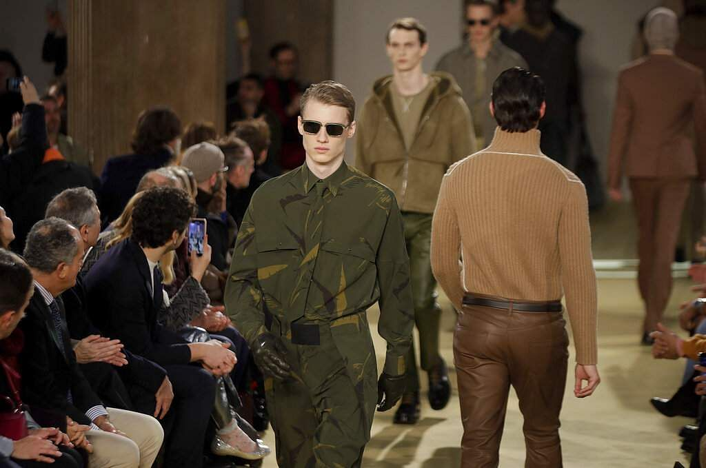 Models wear creations part of the Salvatore Ferragamo men's Fall-Winter 2020/21 collection, that was presented during the fashion week, in Milan, Italy, Sunday, Jan 12, 2020. (AP Photo/Luca Bruno)