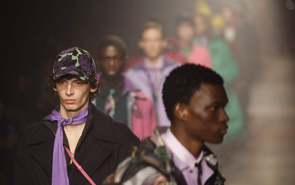 Models wear creations part of the MSGM men's Fall-Winter 2020/21 collection, that was presented during the fashion week, in Milan, Italy, Sunday, Jan 12, 2020. (AP Photo/Luca Bruno)