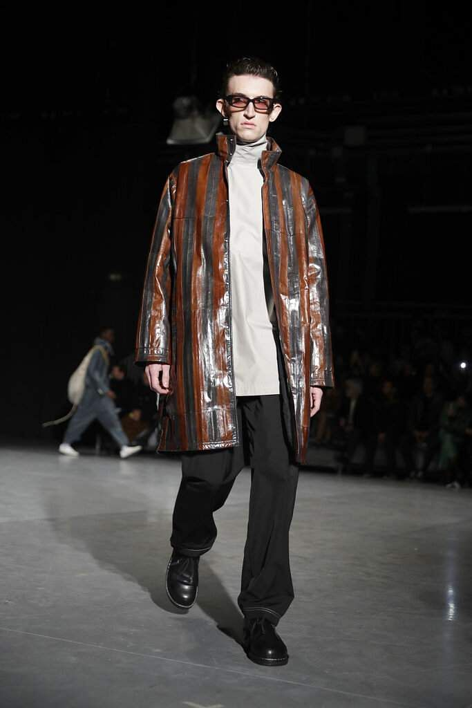 A model wears a creation as part of the Sunnei men's Fall-Winter 2020/21 collection, that was presented in Milan, Italy, Sunday, Jan 12, 2020. (AP Photo/Luca Bruno)