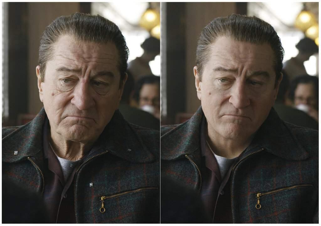 Combo photo of Robert De Niroin The Irishman (Netflix via AP)