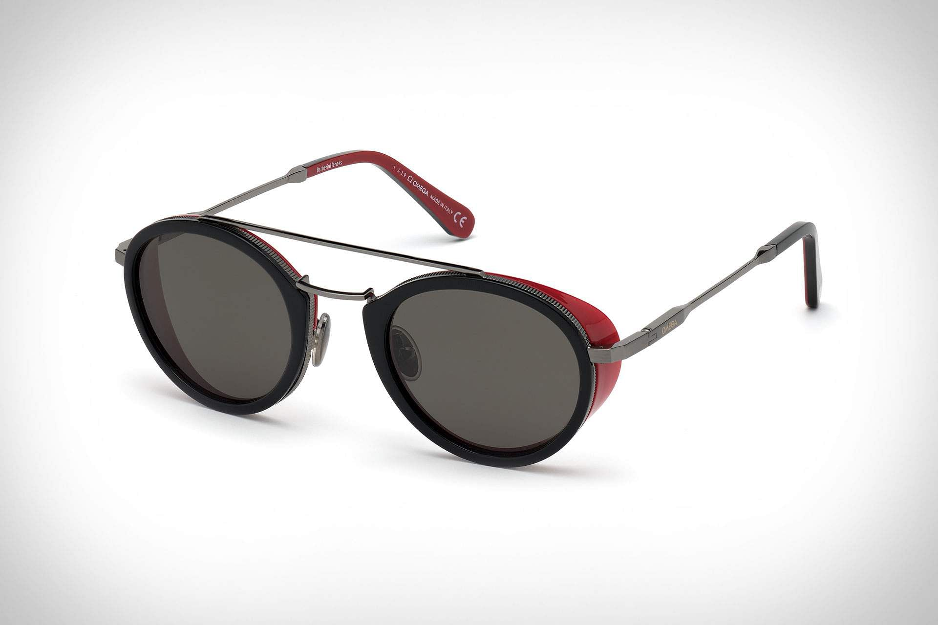 Omega eyewear: Super cool sunglasses, vintage-inspired, ultra-light. Provide complete polarised UV protection, forged from the best materials. INR 45,000.