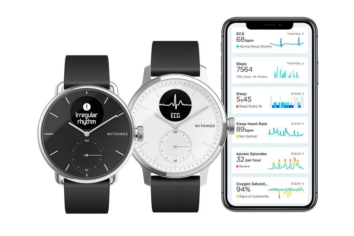 Withings Scanwatch: Measure ECG, detect irregular heartbeat, discover sleep apnea and also engage in multi-sport and daily activity tracking. 30-day battery, premium design. INR 18,000.