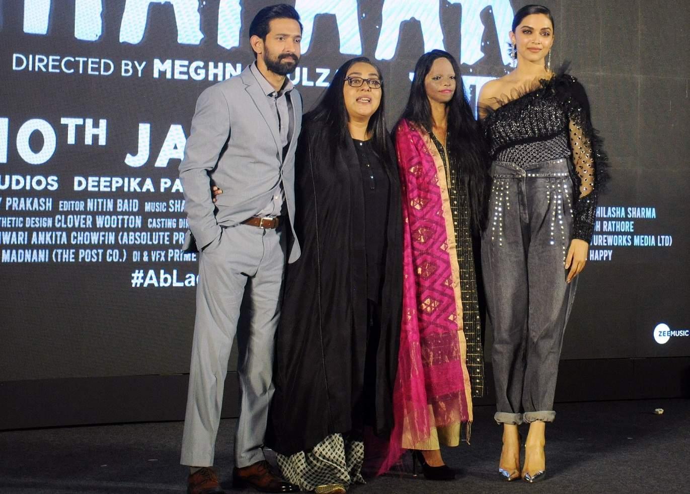 Jan 03 (ANI): Deepika Padukone along with Laxmi Agarwal, Meghna Gulzar and Vikrant Massey during the title song launch of their upcoming film 'Chhapaak' in Mumbai on Friday. (ANI Photo)