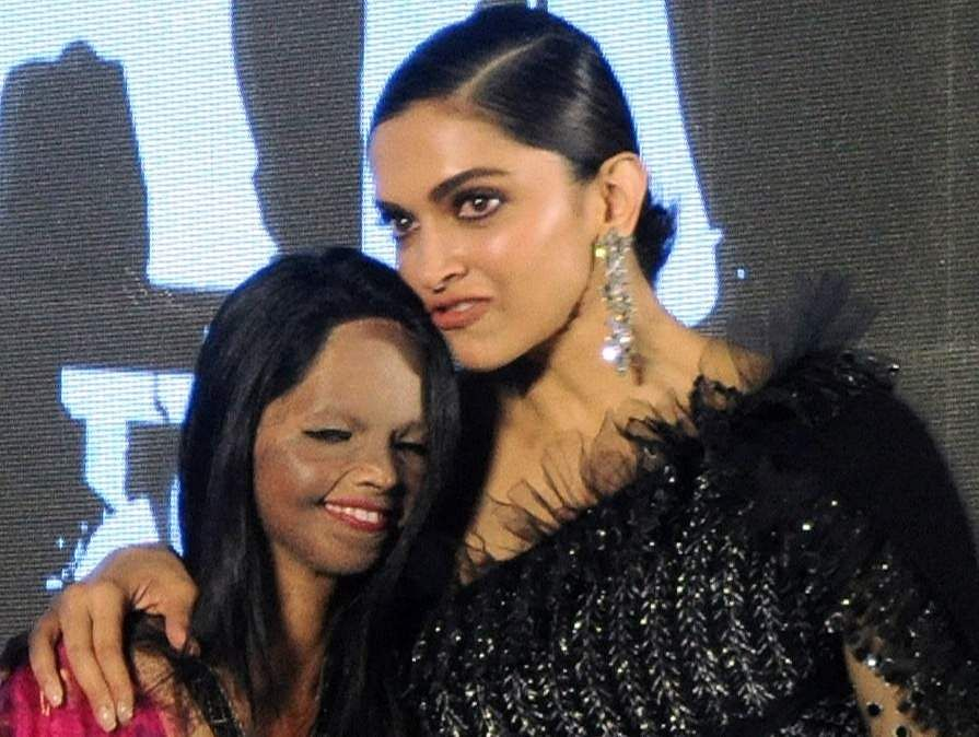 Jan 03 (ANI): Bollywood actress Deepika Padukone along with acid survivor Laxmi Agarwal during the title song launch of their upcoming film 'Chhapaak' in Mumbai on Friday. (ANI Photo)