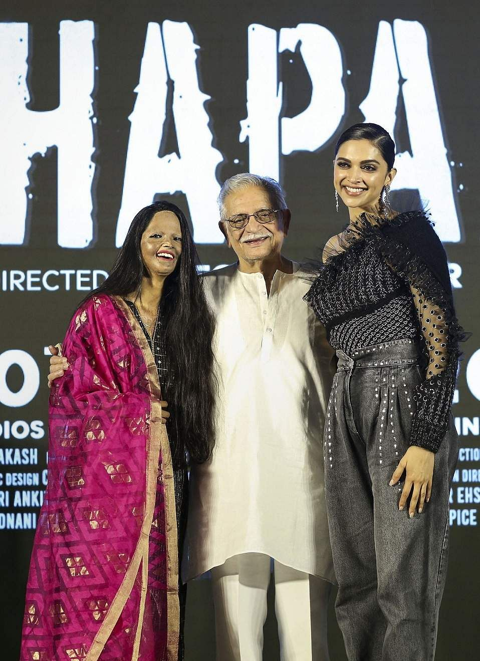 Jan 03 (PTI): Gulzar with Deepika and Laxmi Agarwal at the launch of the title track of the film, 'Chhapaak'. The film, directed by Meghna Gulzar, is based on the life of Laxmi Agarwal. (PTI Photo)