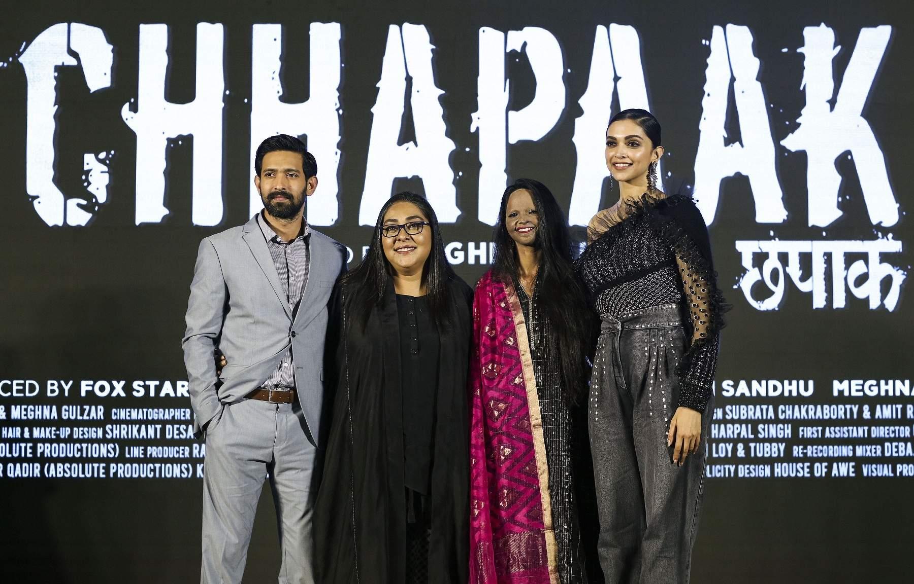 Jan 03 (PTI): Meghna Gulzar, Vikram Massey, Deepika Padukone and Laxmi Agarwal at the launch of title track of the film, 'Chhapaak'. (PTI Photo)
