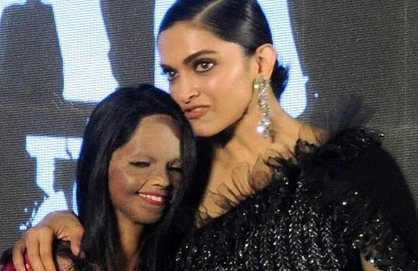 Jan 03 (ANI): Bollywood actress Deepika Padukone along with acid survivor Laxmi Agarwal during the title song launch of their upcoming film 'Chhapaak' in Mumbai on Friday. (ANI Photo)