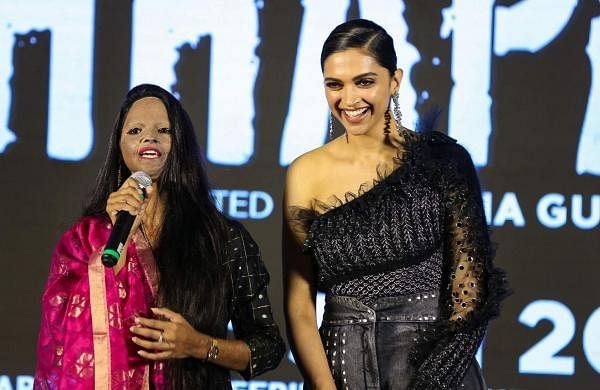 Jan 03 (PTI): Deepika Padukone with Laxmi Agarwal during the launch of title track of film 'Chhapaak'. The film, directed by Meghna Gulzar, is based on the life of Laxmi Agarwal. (PTI Photo)