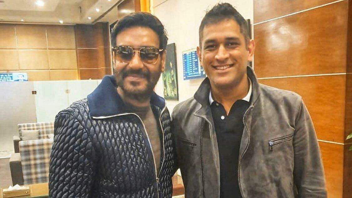 Ajay Devgn meets MS Dhoni (Source: Twitter)