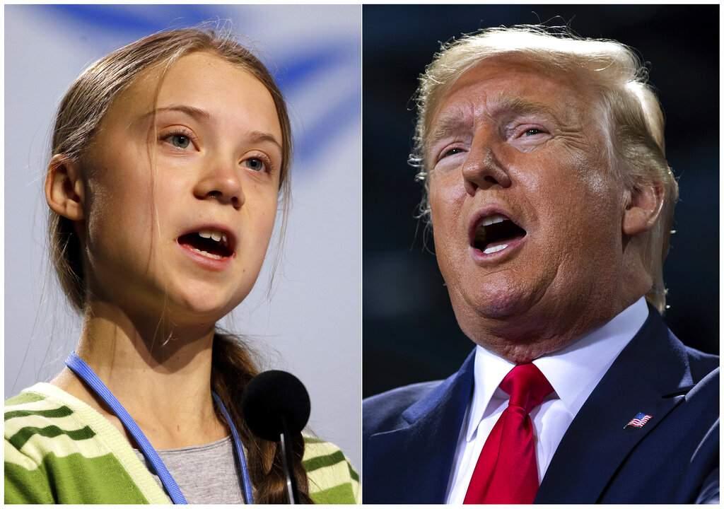Greta Thunberg and US President Donald Trump (AP Photo/Paul White/Evan Vucci)