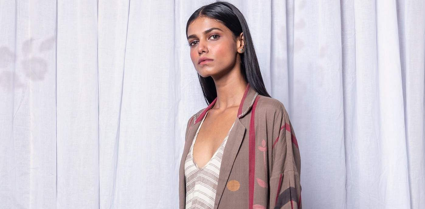 hand_woven_khadi_cotton_jamdani_dress_with_Beige_drop_shoulder_trench_overlay