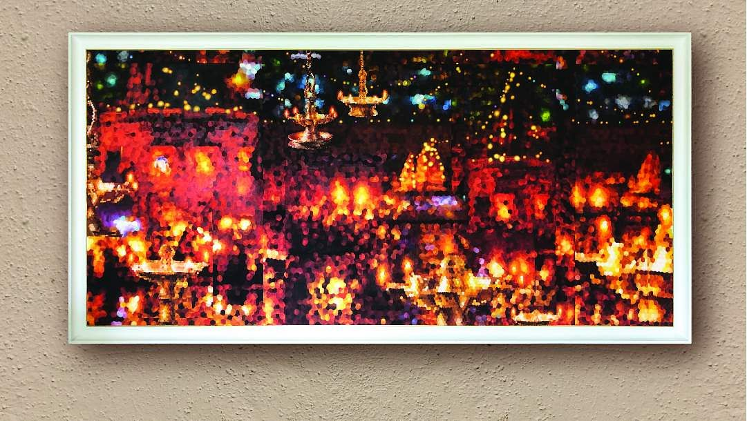 Ganga Aarti. Oil on canvas by Kisalay Vora