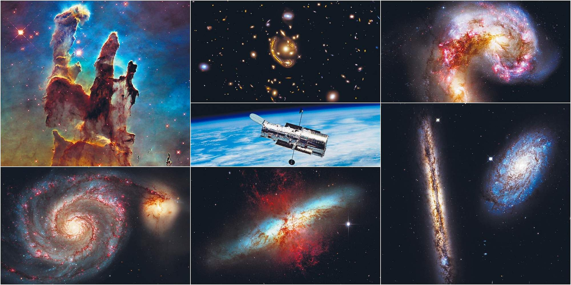 A collage of iconic shots taken by the Hubble telescope (centre)