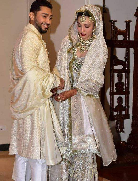Gauahar Khan and Zaid Darbar after their nikah ceremony in Mumbai
