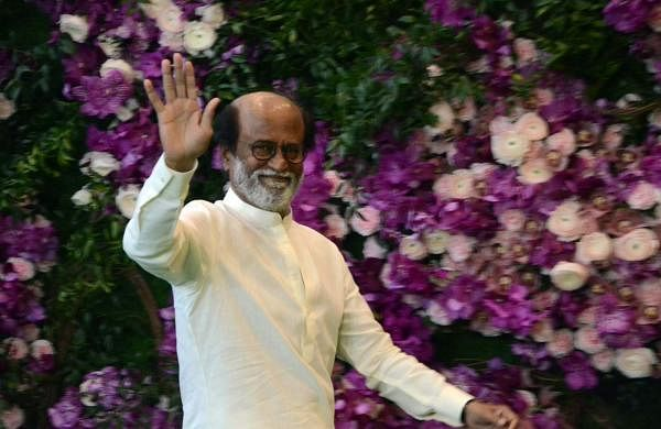 Actor-turned-politician Rajinikanth at the wedding festivities of Akash Ambani and Shloka Mehta in Mumbai on March 9, 2019. (Photo: IANS)