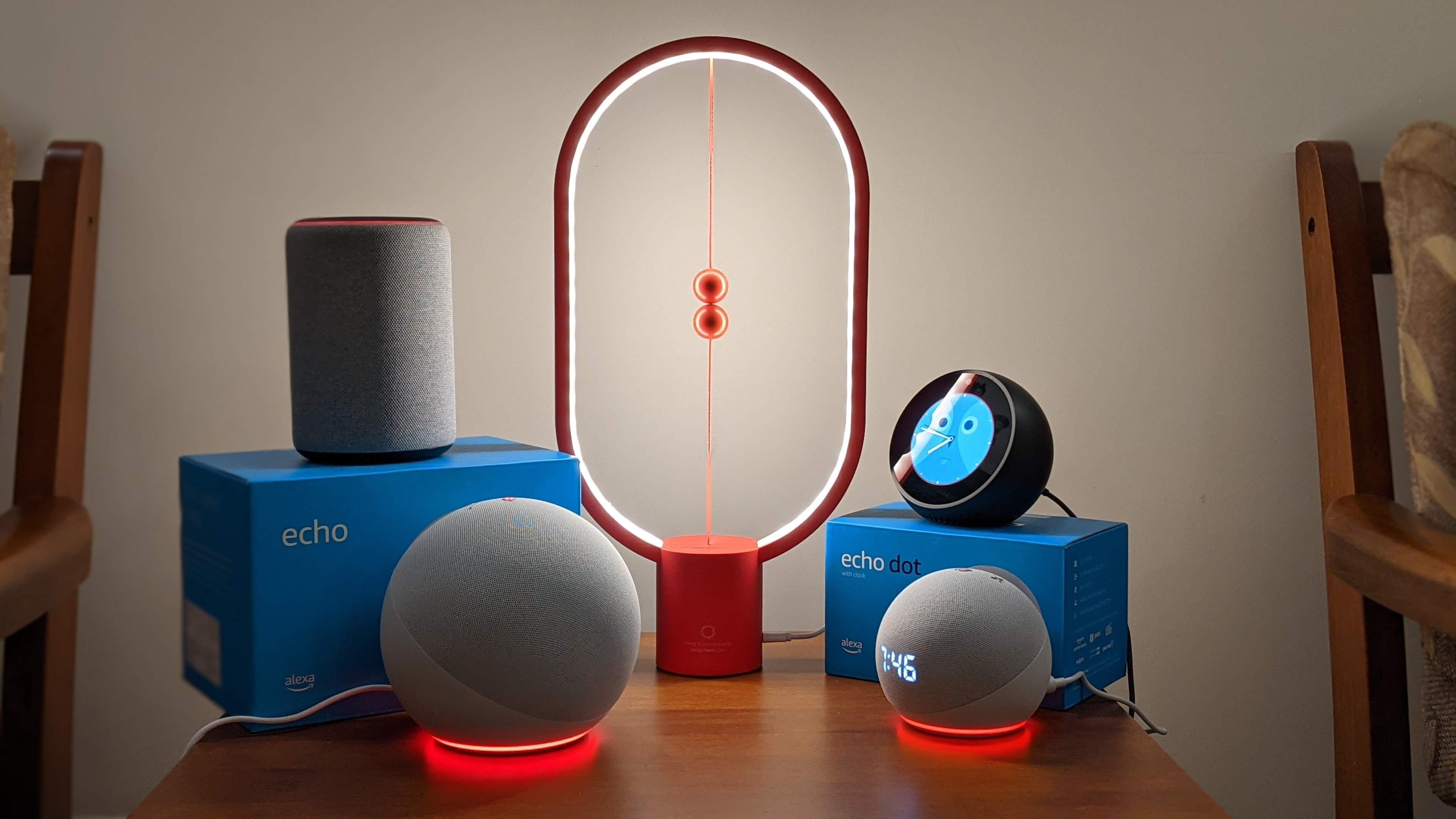 Amazon Echo and Echo Dot with Clock