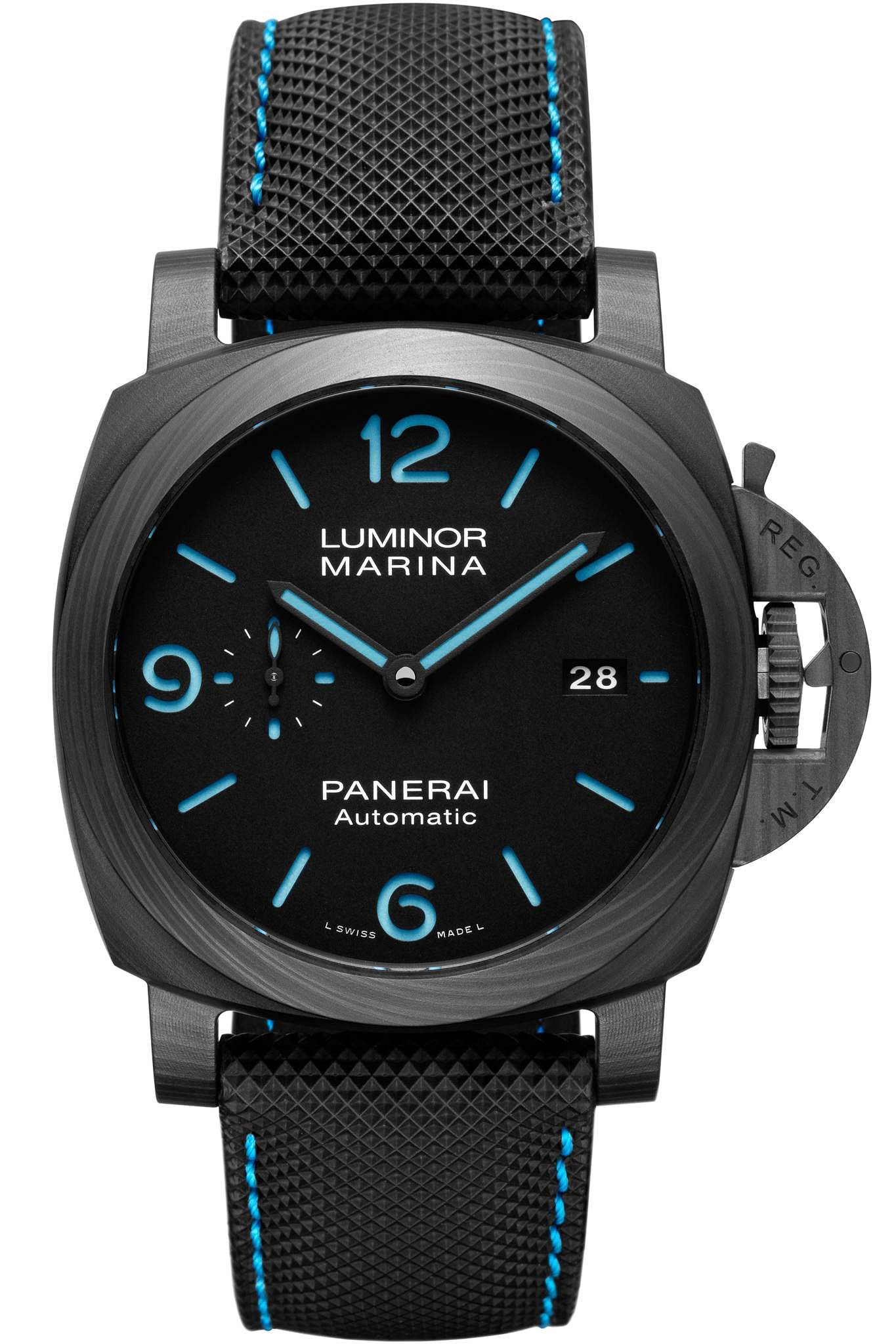 Panerai Carbotech: The Luminor Marina Carbotech comes with a Panerai P.9010 calibre, 3-day power reserve and a titanium back. The 44mm watch looks great with blue luminous markers. INR 9.2 lakh.