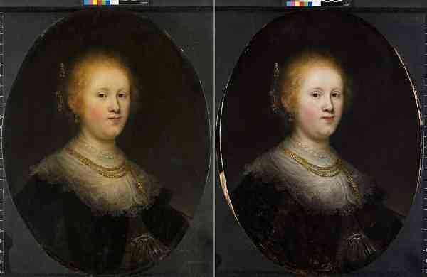Before and after restoration: Portrait of a Young Woman (Allentown Art Museum via AP)