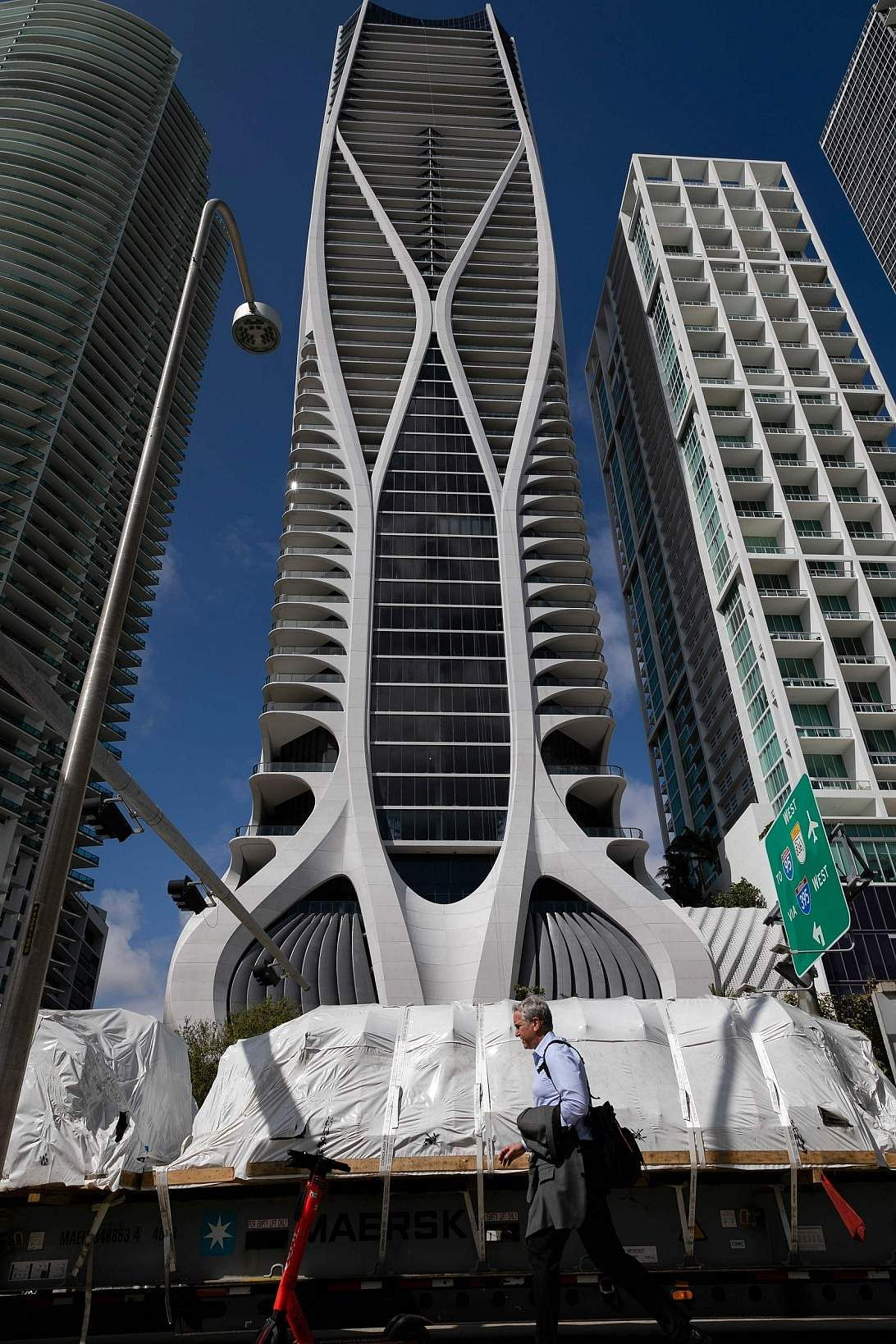 A view of One Thousand Museum, Miami. Among skyscrapers that rise above the Bay of Biscayne, the new luxury condo building by late architect Zaha Hadid dominates the skyline. (AFP/Eva Marie Uzcategui)