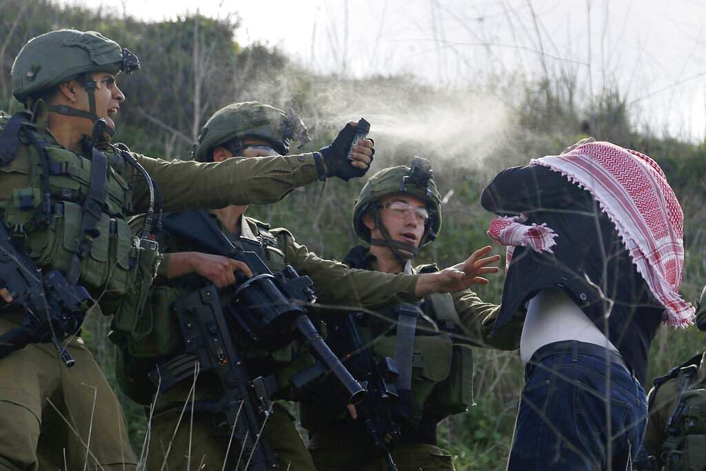 Israeli soldiers use pepper spray on a Palestinian demonstrator near the Jewish settlement Yitzhar, near the West Bank city of Nablus. (AP Photo/Majdi Mohammed)
