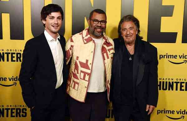 Jordan Peele with Logan Lerman and Al Pacino (AP Photo/Chris Pizzello)