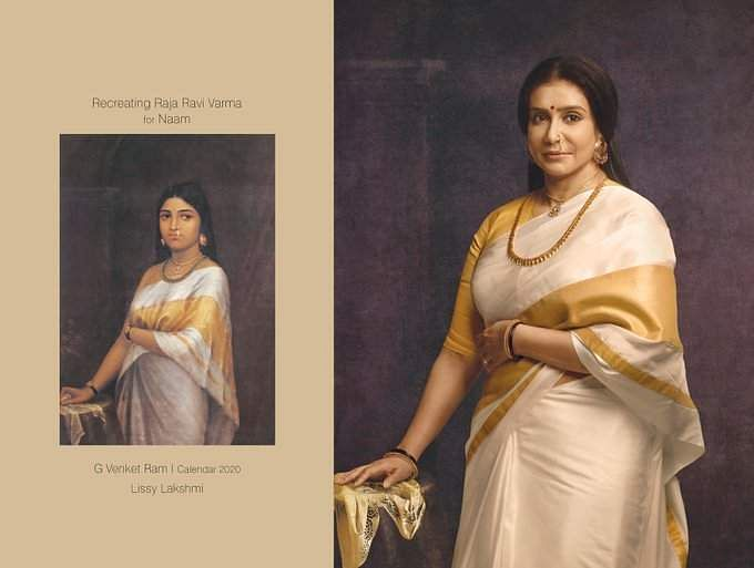 Portrait of a royal woman from Kerala inspired by Ravi Varma 's style, portrayed by Lissy Lakshmi