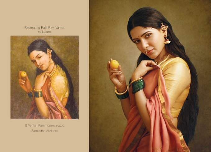 An expectant mother holding a fruit symbolic of a new life, portrayed by Samantha Prabhu