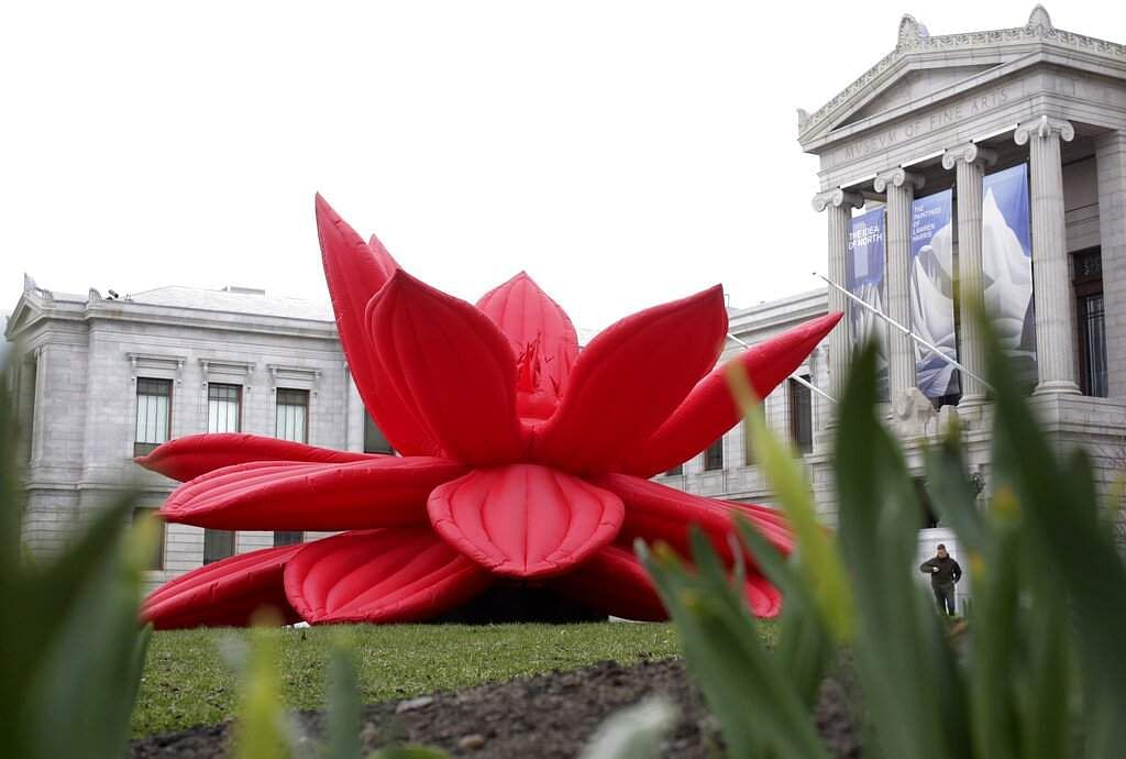 Breathing Flower by Choi Jeog Hwa of Seoul outside the Museum of Fine Arts in Boston (AP Photo/Steven Senne)