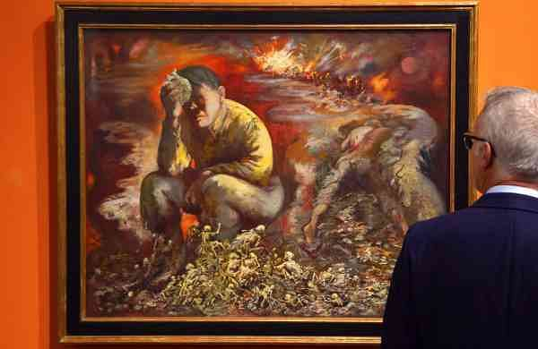 The 1944 painting Cain or Hitler in Hell by George Grosz (AP Photo/Jens Meyer)