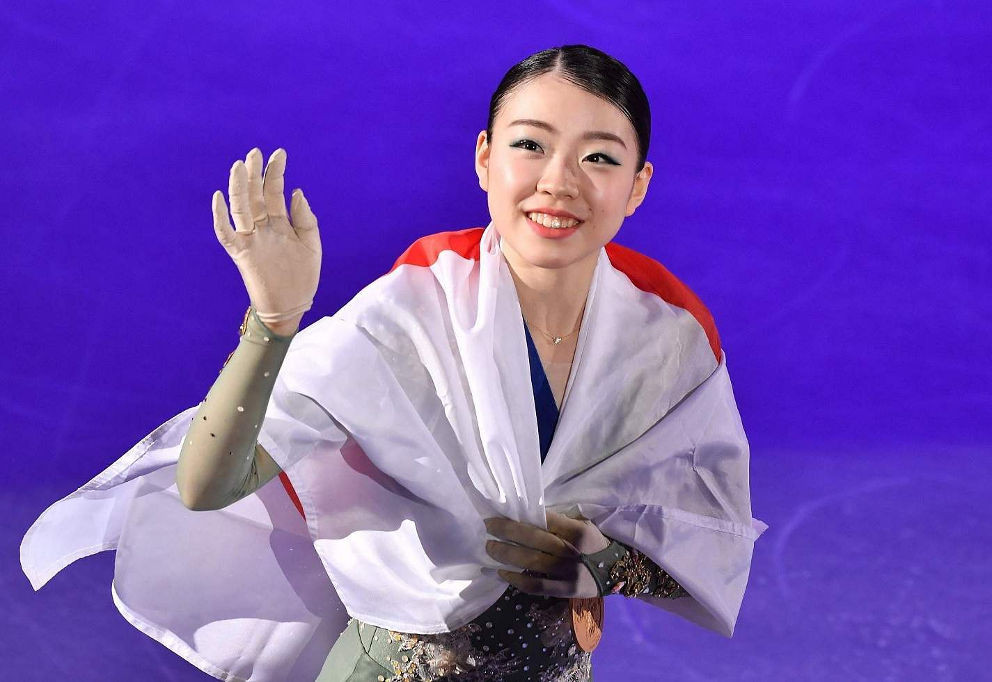 Seoul: Gold medalist Rika Kihira of Japan celebrates during the medal ceremony for the ladies single free skating at the ISU Four Continents Figure Skating Championships in Seoul / AFP / Jung Yeon-je