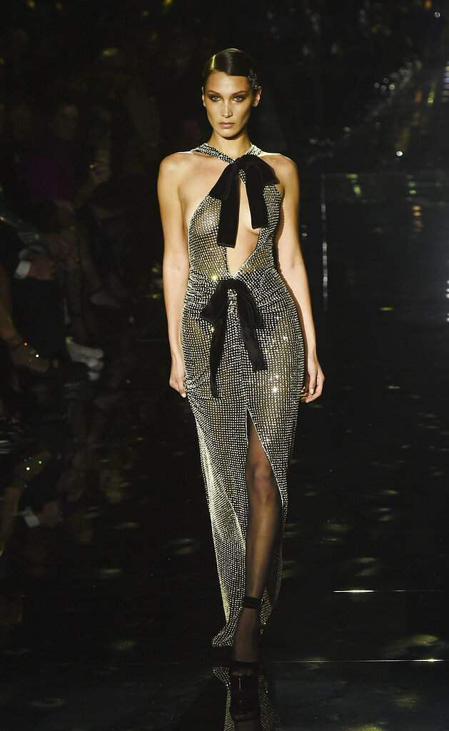 Model Bella Hadid walks the runway at the NYFW Fall/Winter 2020 - Tom Ford fashion show at Milk Studios, Friday, Feb 7, 2020, in Los Angeles. (AP Photo/Chris Pizzello)