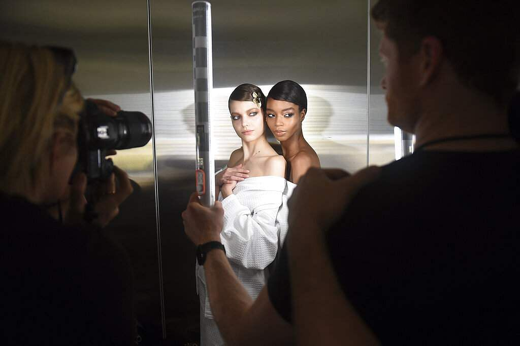 Models prepare backstage at the Tom Ford show at Milk Studios during NYFW Fall/Winter 2020 on Friday, Feb 7, 2020, in Los Angeles. (Photo by Jordan Strauss/Invision/AP)