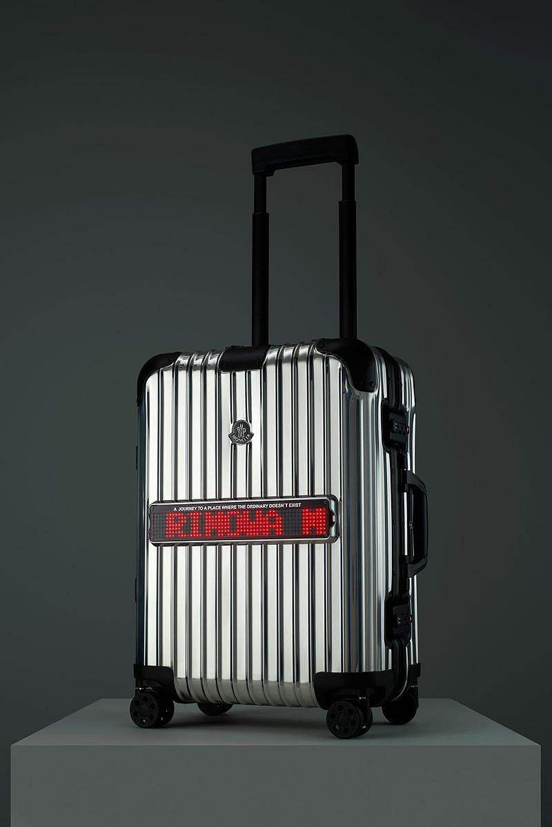 Rimowa X Moncler Reflection: A new collab between Rimowa and Moncler, this aluminium suitcase is highly polished with reinforced riveted corners. Has an LED screen & app to customise text. Price TBA.