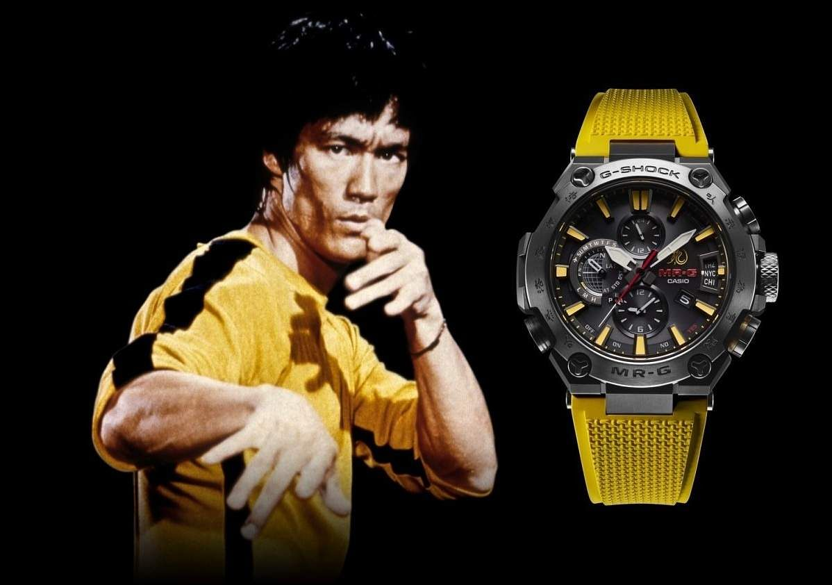 MR-G x Bruce Lee: Casio G-Shock limited edition watch in homage to Bruce Lee in Game of Death. Ultra-durable with titanium case & bezel, sapphire glass crystal. Also has Lee's signature. INR 2.9 lakh.