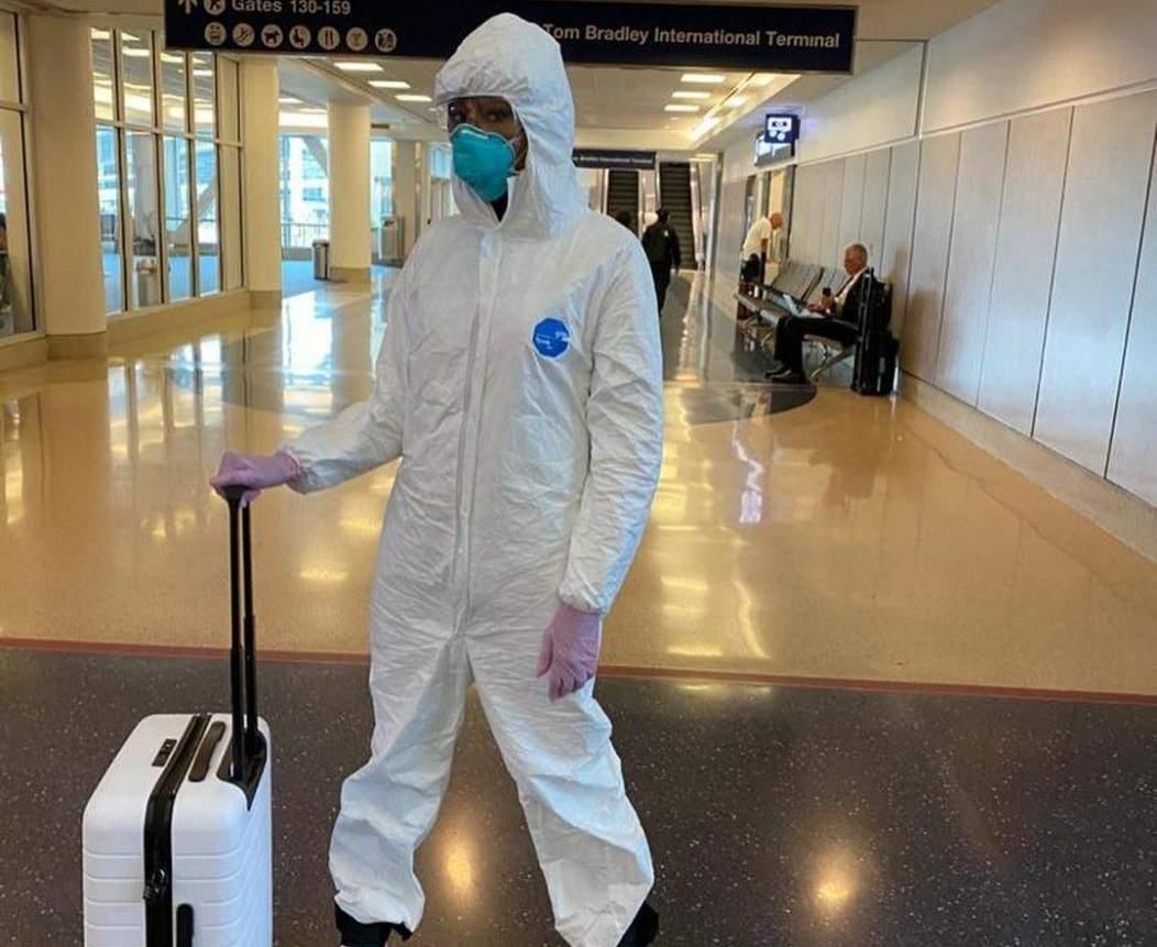 Naomi Campbell in a hazmat suit (Photo: IANS)