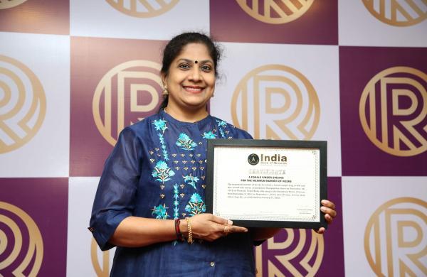 Singer Jaya Rajagopalan with the India book of Records award