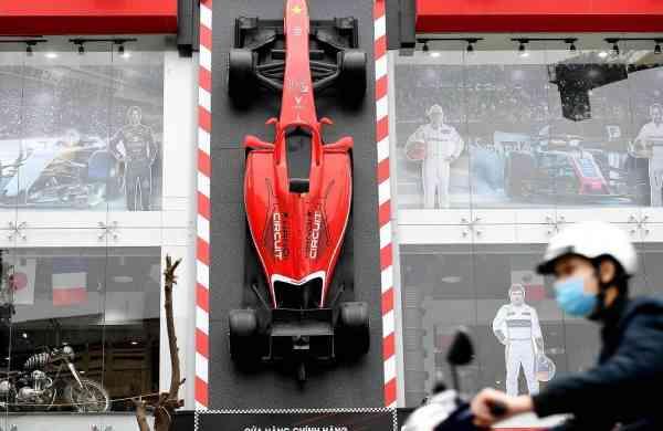 An F1 car model in Hanoi, Vietnam (AFP/Nhac NGUYEN)