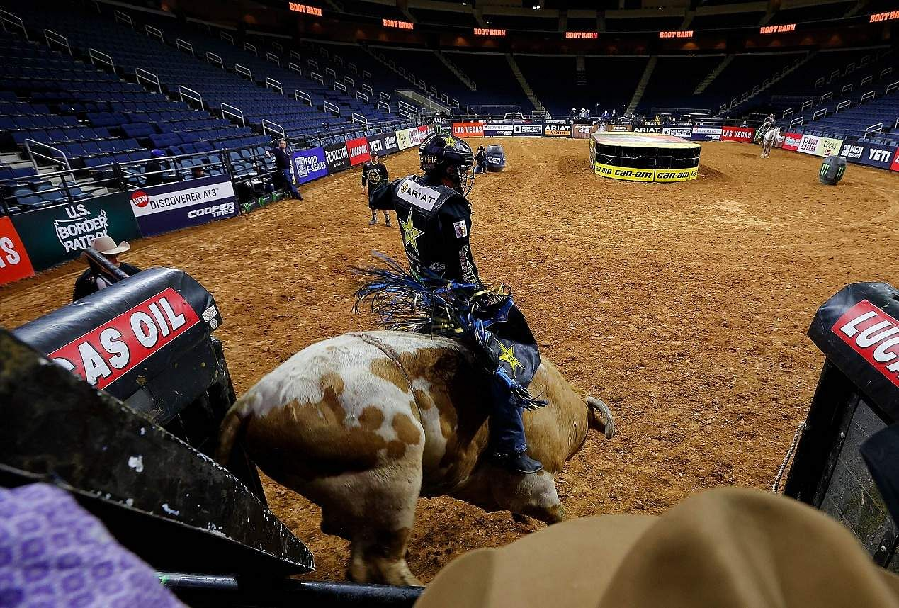 Duluth, Georgia, US: Brazil's Claudio Montanha Jr at the PBR Unleash The Beast Gwinnett Invitational at Infinite Energy Center, which was held behind closed doors. (Kevin C Cox/Getty Images/AFP)