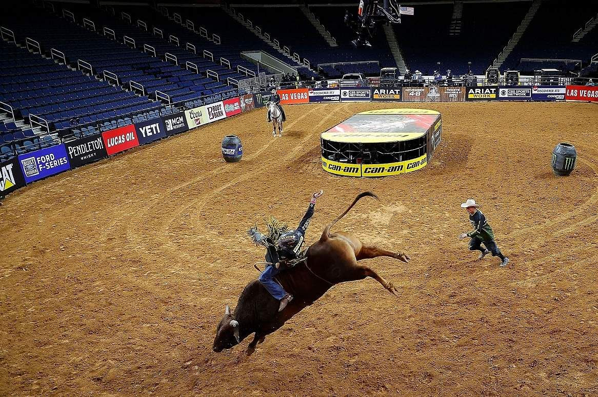 Duluth, Georgia, US: Brazil's Dener Barbosa at PBR Unleash The Beast Gwinnett Invitational at Infinite Energy Center, which was held behind closed doors. (Kevin C Cox/Getty Images/AFP)